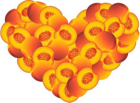 Peach heart shaped Ilustração