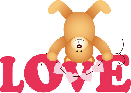 glamors: Word love with teddy bear Illustration