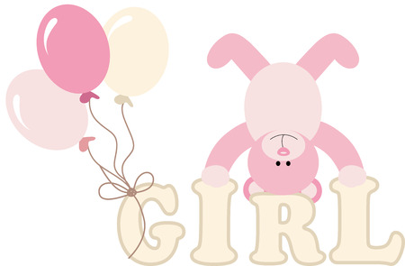 baby bear: Word girl with baby teddy bear and balloons