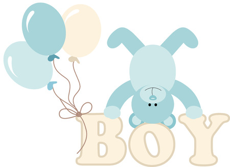 clip art animal: Word boy with baby teddy bear and balloons