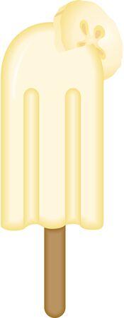gelato stecco: Banana Ice Cream Stick Vettoriali