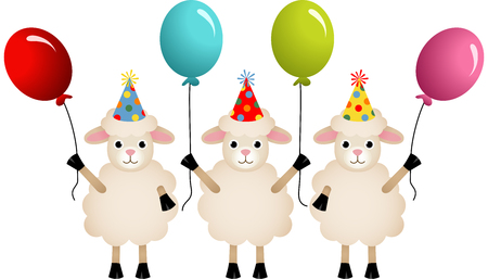 sheeps: Birthday sheeps with balloons