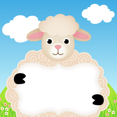 sheep sign: Background with sheep and label Illustration
