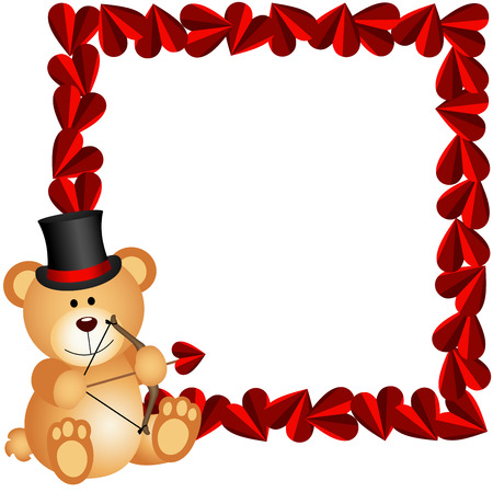 valentine s day teddy bear: Cupid teddy bear with heart frame