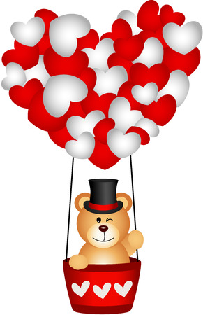 valentine s day teddy bear: Valentine teddy bear in a heart hot air balloon