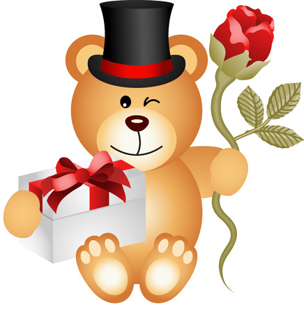 valentine s day teddy bear: Teddy bear with gift box and red rose