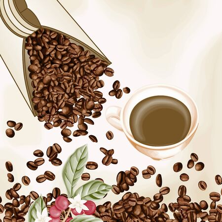 coffee background: Cup of coffee and coffee seeds background