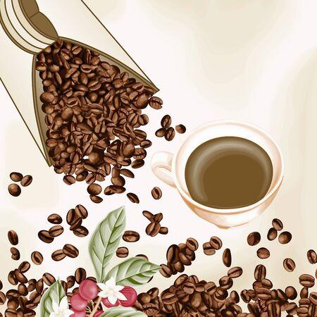 planta de cafe: Taza de café y semillas de café de fondo Vectores