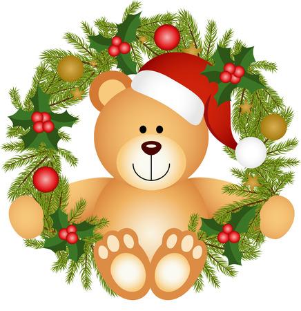 teddy wreath: Teddy bear sitting in a Christmas wreath Illustration