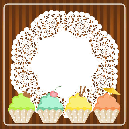 homemade cake: Cupcakes on lace paper background Illustration