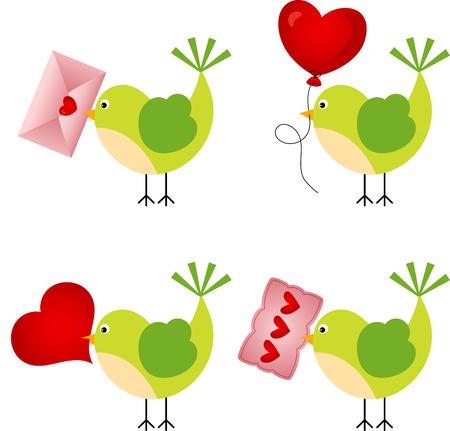 love hearts: Love Birds With Hearts