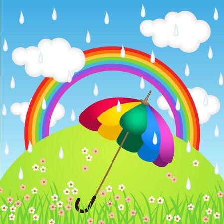 rainbow umbrella: Rainbow color umbrella in raining sky Illustration