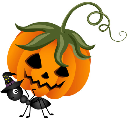 hormiga caricatura: Hormiga que lleva una calabaza de Halloween