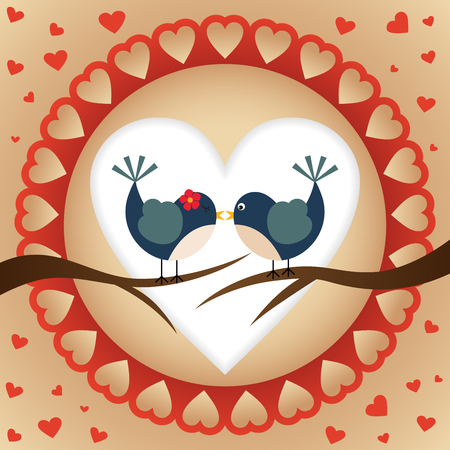 family clip art: A couple of birds with a heart background