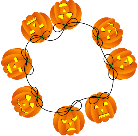 obscure: Circular frame with Halloween pumpkins