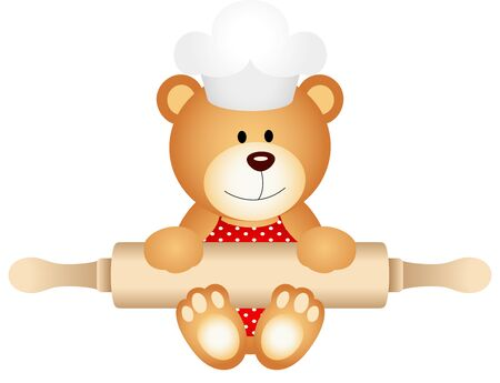 chef clipart: Teddy bear holding rolling pin
