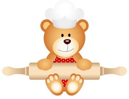 eat cartoon: Teddy bear holding rolling pin