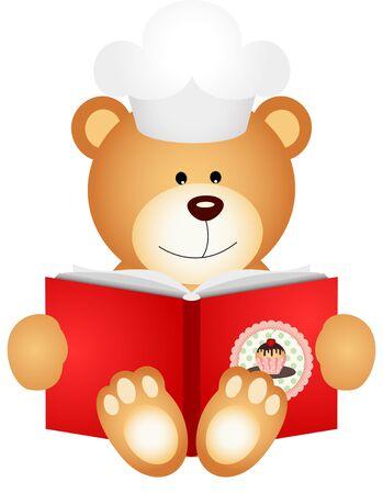 teddy bear cartoon: Teddy bear reading cookbook
