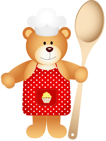 wooden spoon: Cook teddy bear with wooden spoon