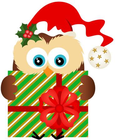 gift season: Christmas owl holding a Christmas gift Illustration