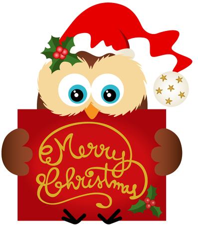 gift season: Christmas owl holding a Merry Christmas