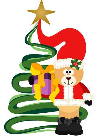 juggle: Christmas Teddy Bear with gift