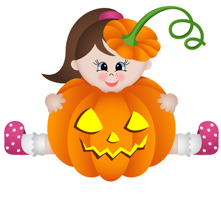 scary pumpkin: Little girl in halloween pumpkin