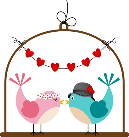 aves caricatura: pájaros de la boda pareja adorable en una jaula Vectores