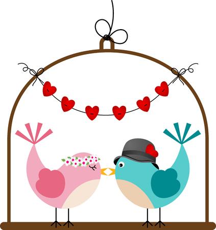 Schattige paar bruiloft vogels in een kooi