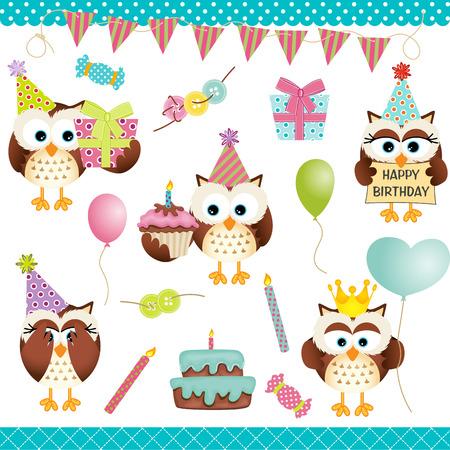 birthday party: Digital Owls Birthday Party Illustration