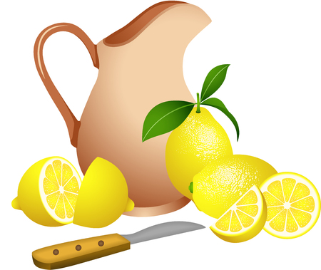 jug: Clay jug with lemons