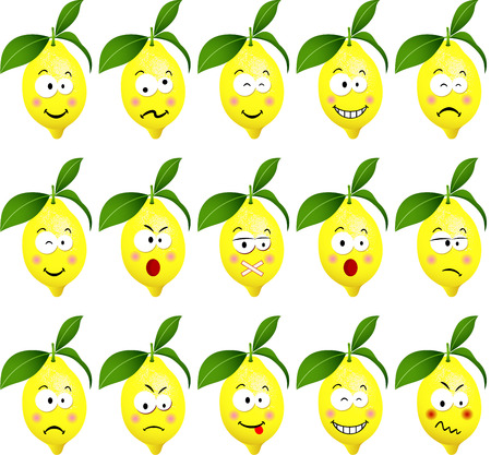 to laugh: Lemons with feature a different expression