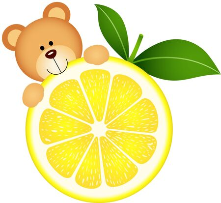 lemon slice: Teddy bear eating lemon slice