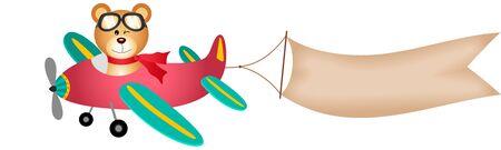 mosca caricatura: Oso de peluche en avi�n con la bandera Vectores