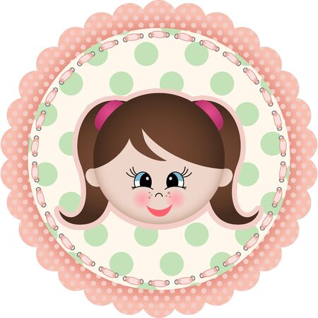 alone person: Cute girl label classic round sticker Illustration