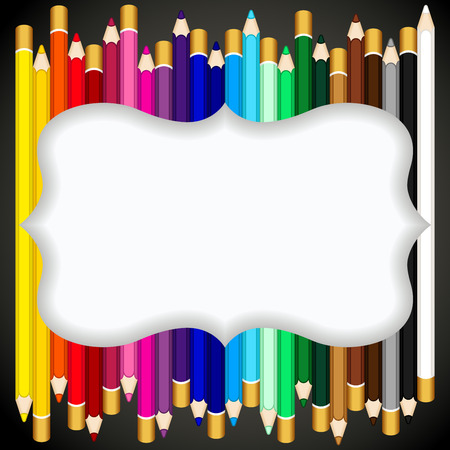 Color pencils background with blank banner Illustration