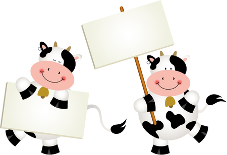 cartoon frame: Couple cows with signboards