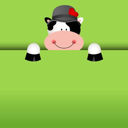 cow vector: Funny cow background peeking out