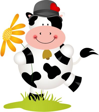 isolated flower: Lovely cow with flower Illustration