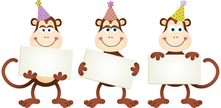 monkey clip: Birthday monkeys with signboards Illustration