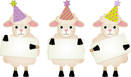 sheep sign: Birthday sheeps with signboards