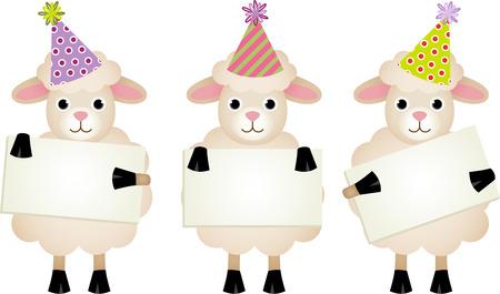 ovejas bebes: Ovejas de cumpleaños con letreros Vectores