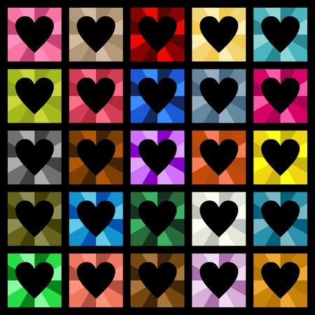 ensemble: Multiple colored hearts square diamond Illustration