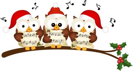 coro: Navidad búhos canto coral Vectores