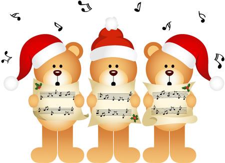 choir: Christmas teddy bears choir singing