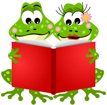 fable: Cute frog couple reading a book Illustration