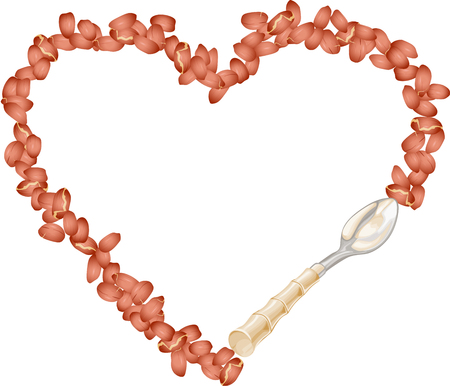 gabona: Frame of peanut grain forming into heart with spoon