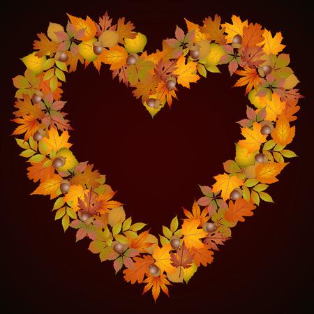 autumn leaves background: Autumn leaves heart shaped background Illustration