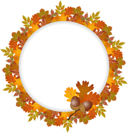 fall leaves: Autumn leaves round frame