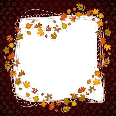 leaves frame: Heart frame shaped autumn leaves Illustration